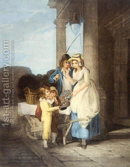 'Cries of London' pl.8- Round & sound five pence a pound Duke Cherries, after Francis Wheatley (1747-1801) 1795 by Antoine Cardon - Reproduction Oil Painting