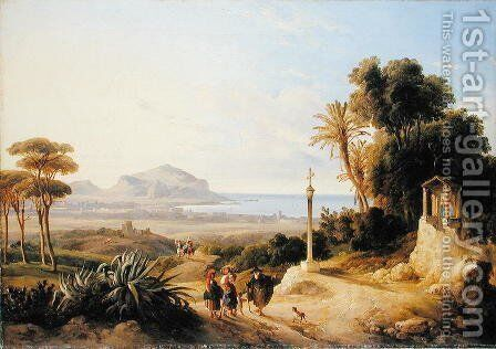 View of Palermo, 1840 by Consalvo Carelli - Reproduction Oil Painting