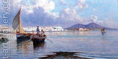 Naples, from Mergellina by Giuseppe Carelli - Reproduction Oil Painting
