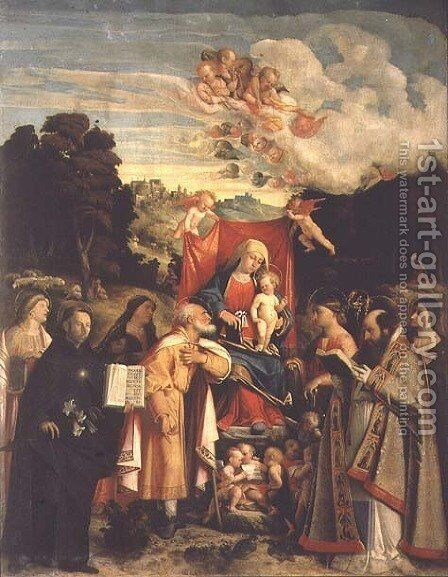 Madonna and Child with SS. Domenic, Barbara, Catherine and others by Cariani - Reproduction Oil Painting