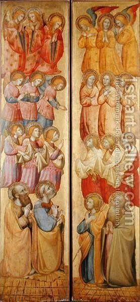 Left panel- St. Peter and St. Paul with Angels; Right panel- St. James and St. Andrew with Angels, c.1400 by Carlo da Camerino - Reproduction Oil Painting