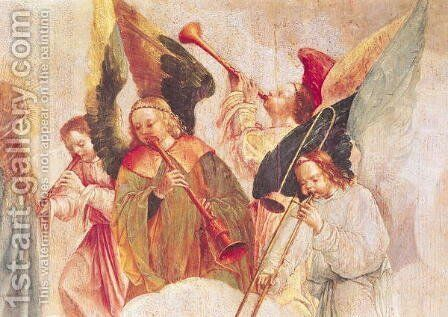 Musical Angels (detail-1, from The Assumption of the Virgin) by Carlos Taborda Vlame Frey - Reproduction Oil Painting