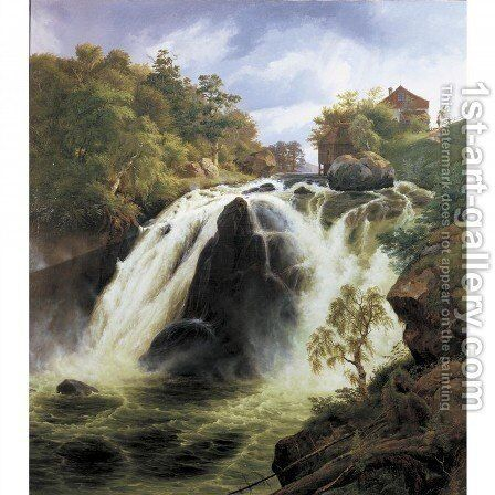 View of the waterfall at Stora Mollan, Sweden by Johann-Hermann Carmiencke - Reproduction Oil Painting