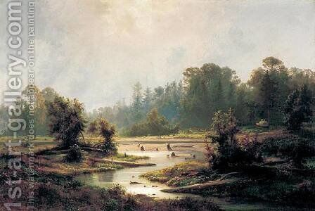 Cedar Swamps, Cape May County, New Jersey, 1861 by Johann-Hermann Carmiencke - Reproduction Oil Painting