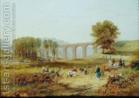 Corby Viaduct, the Newcastle and Carlisle Railway, 1836 by James Wilson Carmichael - Reproduction Oil Painting