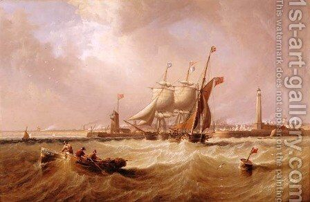 Entrance to Sunderland Harbour, 1864 by James Wilson Carmichael - Reproduction Oil Painting