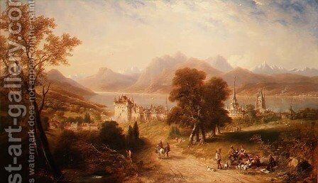 Lake Lucerne by James Wilson Carmichael - Reproduction Oil Painting