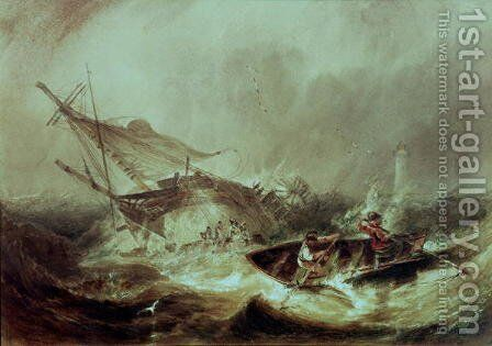Rowing to rescue shipwrecked sailors off the Northumberland Coast by James Wilson Carmichael - Reproduction Oil Painting