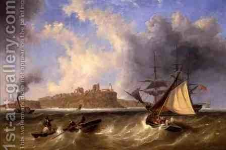 Sea View Of Tynemouth Haven by James Wilson Carmichael - Reproduction Oil Painting