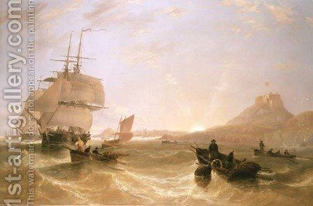 Squadron of Frigates and Fishing Vessels in a Choppy Sea off Holy Island by James Wilson Carmichael - Reproduction Oil Painting