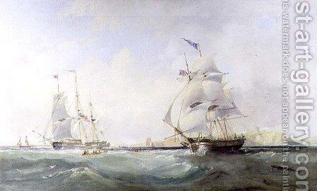Whalers Entering the Tyne, c.1830 by James Wilson Carmichael - Reproduction Oil Painting