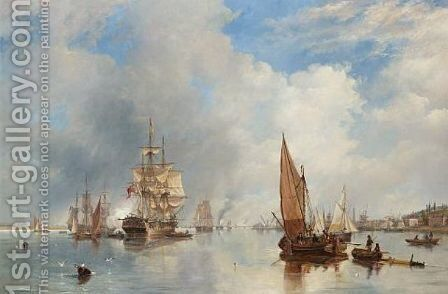 On the Thames at Woolwich, with the 'Buckinghamshire' Indiaman going down the river 1842 by James Wilson Carmichael - Reproduction Oil Painting