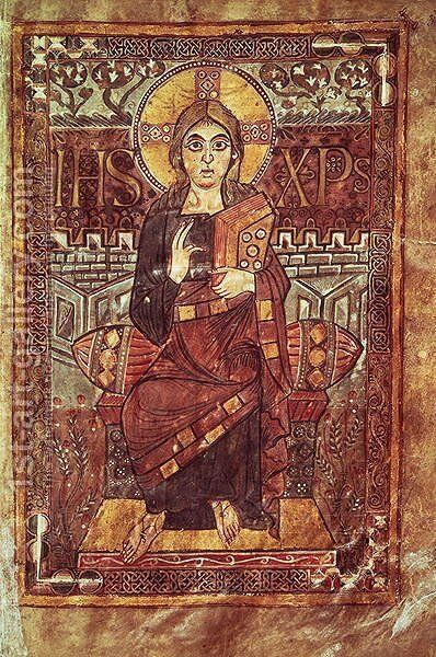 Christ in Majesty, from the Godescale Gospel, c.781-783 AD by Anonymous Artist - Reproduction Oil Painting
