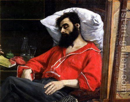 The Convalescent, or The Wounded Man (detail cut by the artist from 'The Visit to the Convalescent') c.1860 by Carolus (Charles Auguste Emile) Duran - Reproduction Oil Painting