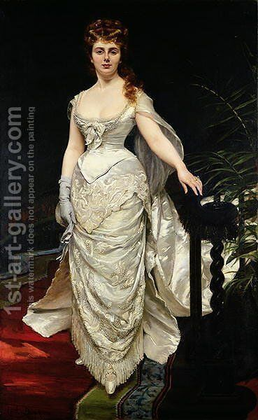 Portrait of Mademoiselle X, 1873 by Carolus (Charles Auguste Emile) Duran - Reproduction Oil Painting