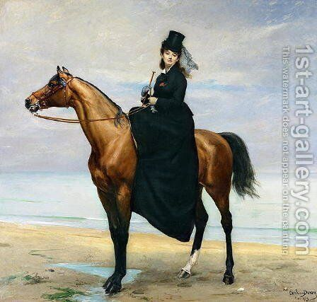 Equestrian Portrait of Mademoiselle Croizette, 1873 by Carolus (Charles Auguste Emile) Duran - Reproduction Oil Painting