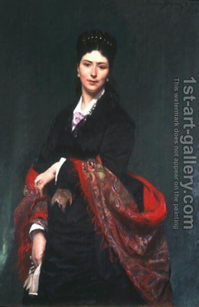 Portrait of Mrs Marie Clerc, 1874 by Carolus (Charles Auguste Emile) Duran - Reproduction Oil Painting