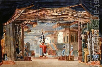 Egyptian Stage Design for Act III of 'Moise et Pharaon' by Rossini, first produced in Paris on 26th March 1827 by Auguste Caron - Reproduction Oil Painting