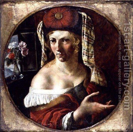 A Sibyl by Angelo Caroselli - Reproduction Oil Painting