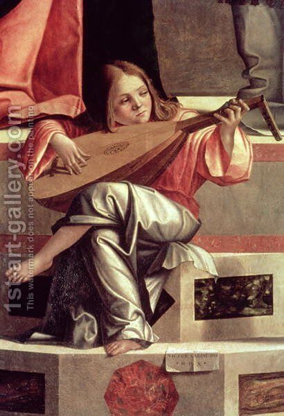 Minstrel angel playing a lute, detail from The Presentation of Jesus in the Temple, 1510 (detail) by Vittore Carpaccio - Reproduction Oil Painting