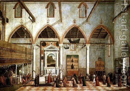 Apparition of the Crucified of Mount Ararat in the Church of Sant' Antonio di Castello, c.1512 by Vittore Carpaccio - Reproduction Oil Painting