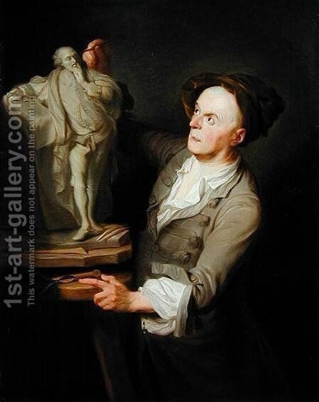 Louis-Francois Roubiliac (1695-1762) Modelling his Monument to Shakespeare by Adrien Carpentiers - Reproduction Oil Painting