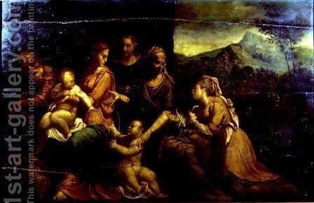 Mystic Marriage of St. Catherine by Girolamo da Carpi - Reproduction Oil Painting