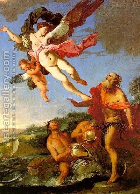 Neptune Pursuing Coronis, 1665-70 by Giulio Carpioni - Reproduction Oil Painting