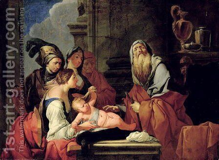 The Blind Prophet Tiresias with the Baby Narcissus, after 1666 by Giulio Carpioni - Reproduction Oil Painting