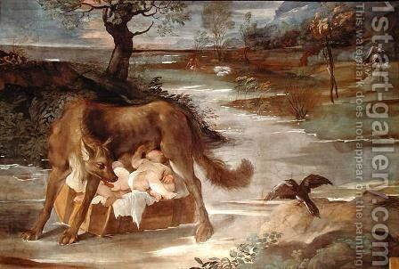 The She-Wolf Suckling Romulus and Remus, from the 'History of Romulus' cycle, c.1590 by Agostino Carracci - Reproduction Oil Painting