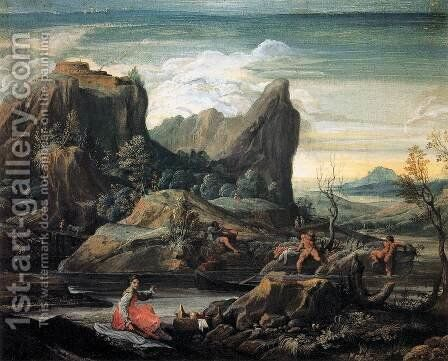 Landscape with Bathers by Agostino Carracci - Reproduction Oil Painting