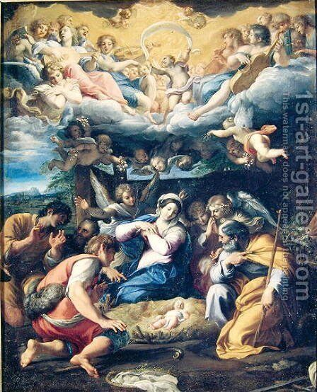 The Nativity, c.1596-98 by Annibale Carracci - Reproduction Oil Painting