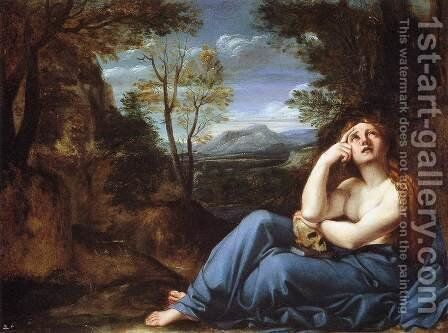 Mary Magdalene in the Desert by Annibale Carracci - Reproduction Oil Painting