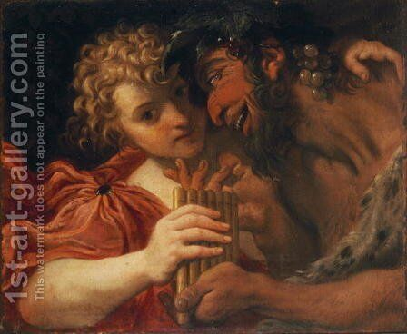 Satyr and Shepherd by Annibale Carracci - Reproduction Oil Painting