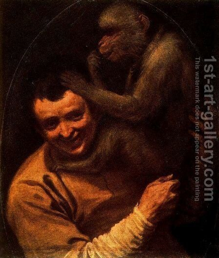 Man with Monkey, 1590-91 by Annibale Carracci - Reproduction Oil Painting