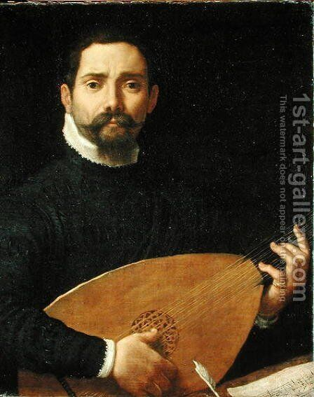 Portrait of a Lute Player, c.1593-94 by Annibale Carracci - Reproduction Oil Painting