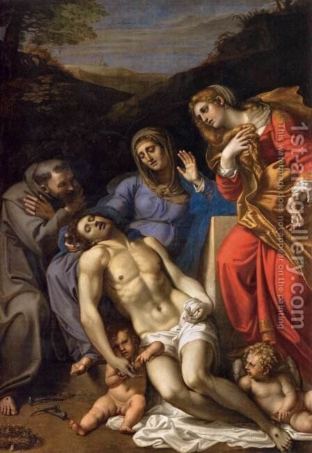 Pieta with St. Francis and St. Mary Magdalene, c.1602 by Annibale Carracci - Reproduction Oil Painting