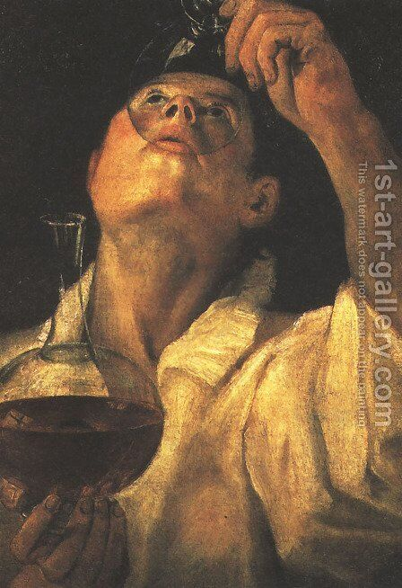 Portrait of a Man Drinking, c.1581-84 by Annibale Carracci - Reproduction Oil Painting