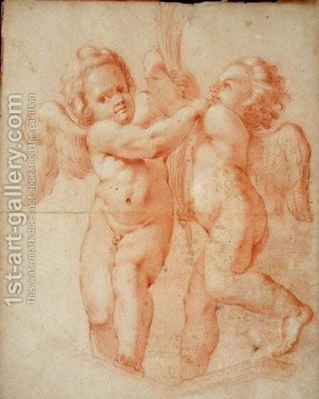 Two Putti by Annibale Carracci - Reproduction Oil Painting