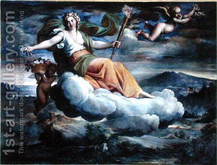 Dawn with a torch scattering flowers by Annibale Carracci - Reproduction Oil Painting