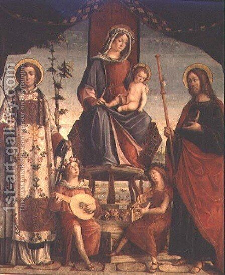 Madonna and Child with SS.James The Greater and Lawrence by Baldassare di Matteo, the Younger Carrari - Reproduction Oil Painting