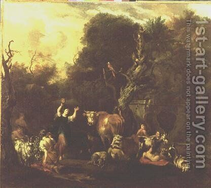 A Figure Dancing Amongst a Resting Herd of Cattle by Michiel Carre - Reproduction Oil Painting