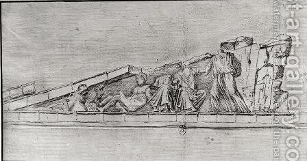 Study of the frieze from a pediment of the Parthenon by Jacques Carrey - Reproduction Oil Painting