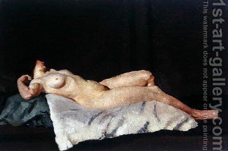 Female Figure Lying on Her Back, 1912 by Dora Carrington - Reproduction Oil Painting
