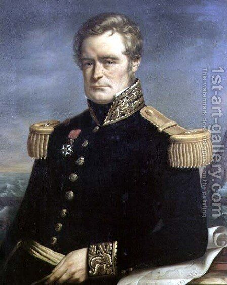 Portrait of Jules Sebastien Cesar Dumont d'Urville (1790-1842) French admiral and explorer, 1845 by Jerome Cartellier - Reproduction Oil Painting