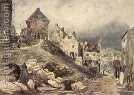 Street Scene, Robin Hood's Bay by Henry Barlow Carter - Reproduction Oil Painting