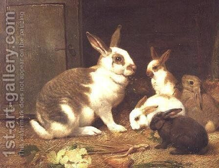 Rabbits feeding, 1884 by Henry William Carter - Reproduction Oil Painting