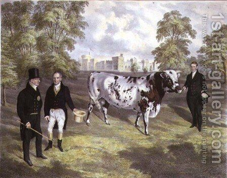 Sir Charles Morgan presenting King William IV with a Shorthorn Bull at Tredegar Castle, Monmouth, 1836 by J.H. Carter - Reproduction Oil Painting