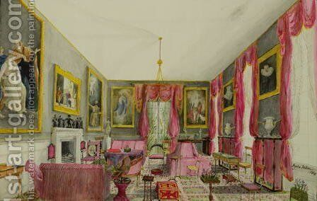 The Aynhoe Salon, 1844 by Lili Cartwright - Reproduction Oil Painting