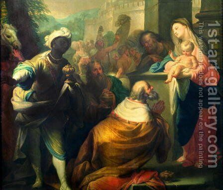 The Adoration of the Magi, detail of the three kings, c.1750 (detail) by Andrea Casali - Reproduction Oil Painting